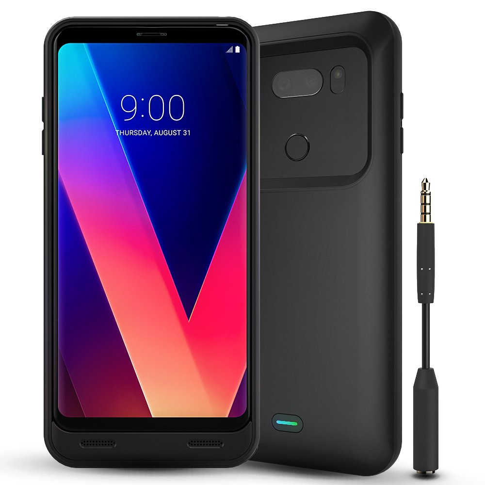LG V30 Battery Case, BrexLink 4400mAh Charger External Battery Pack with LED Indicator, USB Type C Compatible, Protective Charging Power Case Pack for LG V30 (Black)