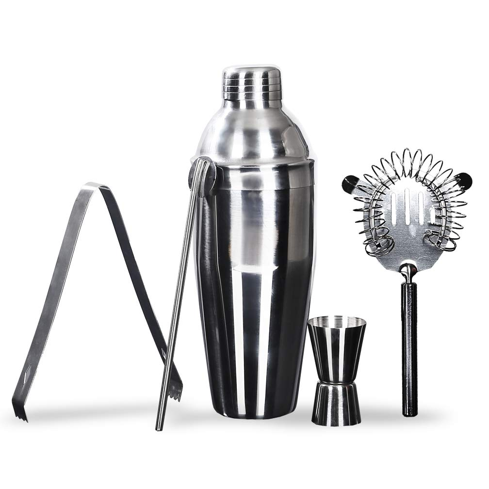 Cocktail Shaker Set FHLove, 5 Piece Bar Tools 26 oz Martini Mixer Dual Jigger Shot Glass Drink Stirrer Spoon Ice Tong Strainer, Stainless Steel Bartender Kit