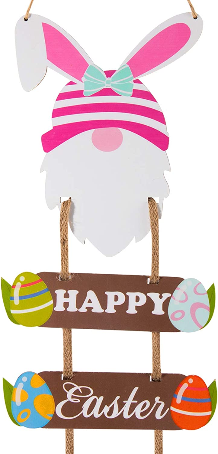 3 Pcs Easter Wooden Bunny Gnome Hanging Sign- Happy Easter Swedish Gnome Ornaments with Rustic Ropes Decorative Easter Theme Wood Sign Plaque for Easter Day Home Window Wall Door Decors Party Favors