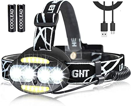 Linterna frontal LED Recargable de Trabajo, con Sensor, Sólo 130g, 8000 Lúmenes, 7 Modos de Luz con Flash, Ligera Elástica, Impermeable para Ciclismo, ...