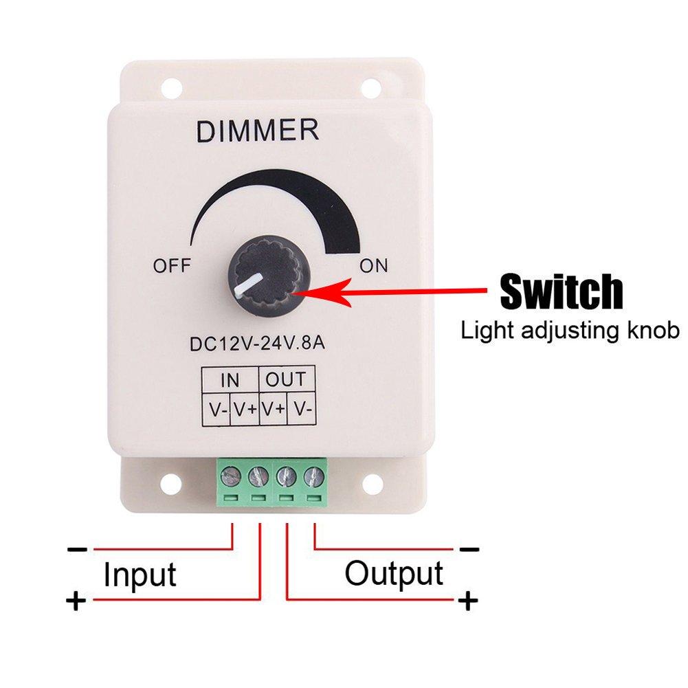 FAVOLCANO® (3 Pack) Dimming Controller For Single Color LED Lights or Ribbon, 12 Volt 8 Amp,Adjustable Brightness Light Switch Dimmer Controller DC12V 8A 96W for Led Strip Light by FAVOLCANO (Image #5)