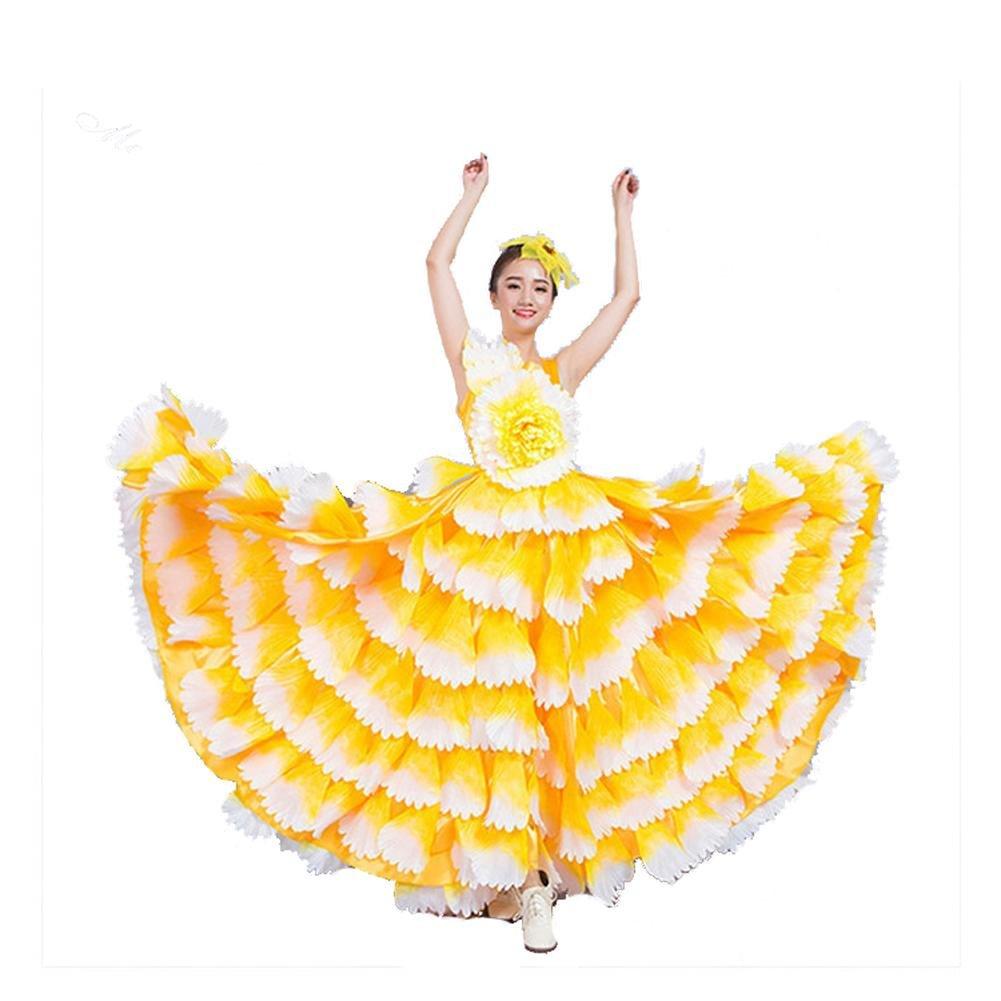 Jaune skirt 720 Wgwioo femmes Flamenco Dress 180 360 540 720 Devert sans Manches Entreprise Affaires Scolaires Fleurs Pétales Jupe Scène Ouverture Danse Robe Perforhommece Chorus L