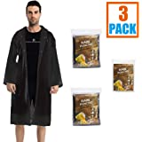 Two Rain Coats and One Rain Poncho with Hood for Women Men Adults, Disposable Ponchos Family Pack