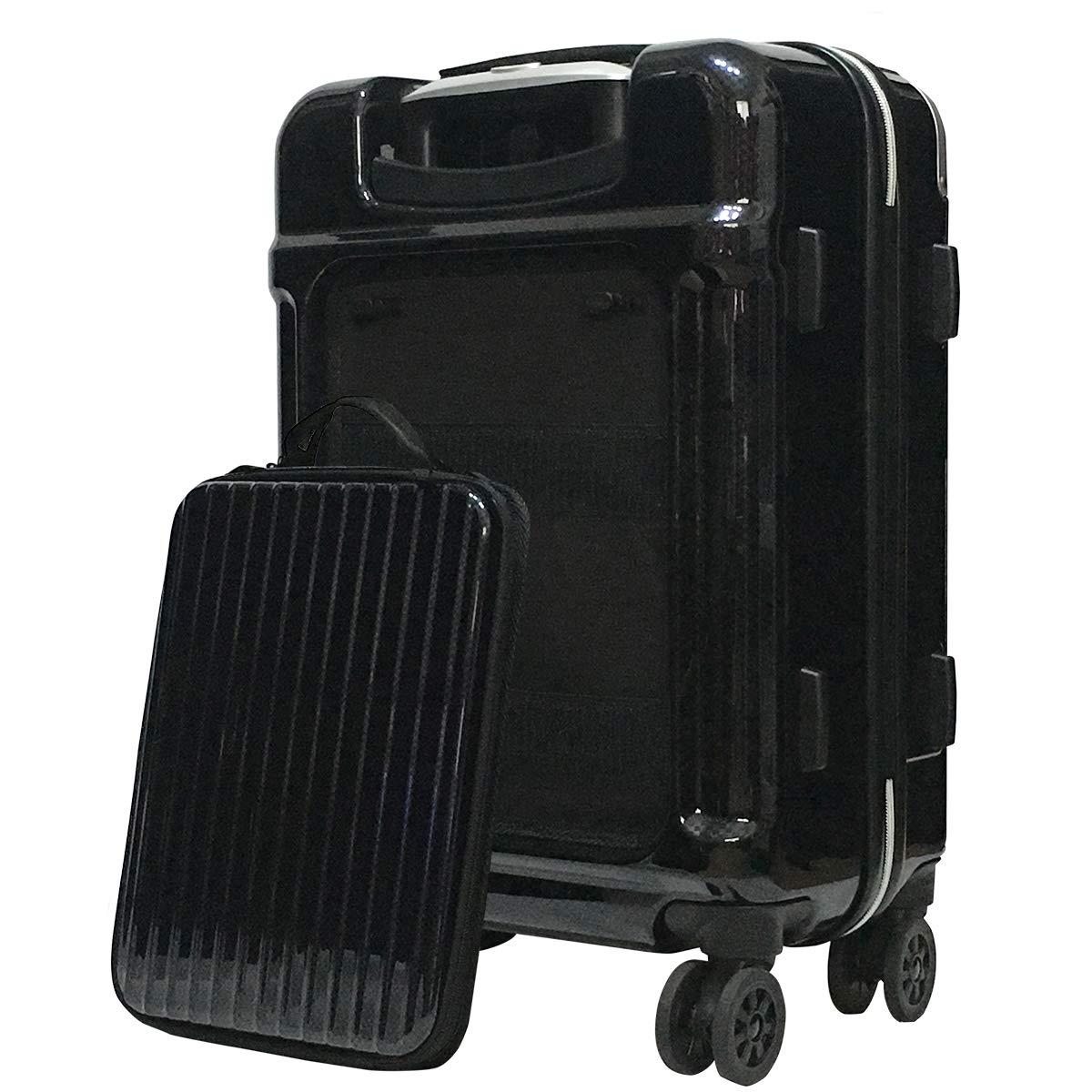 スーツケース 機内持込 バックポケット 取り外し可能 小型 LCC 国内線 静かな 抗菌 キャスター TSAロック ポリカボネート SiiiN+Wiz シーンプラスウィズ B07PFTWS7V カーボンネイビー