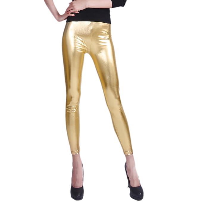 3535730caf HDE Womens Shiny Leggings Metallic Clubwear Stretch Liquid Wet Look Skinny  Pants
