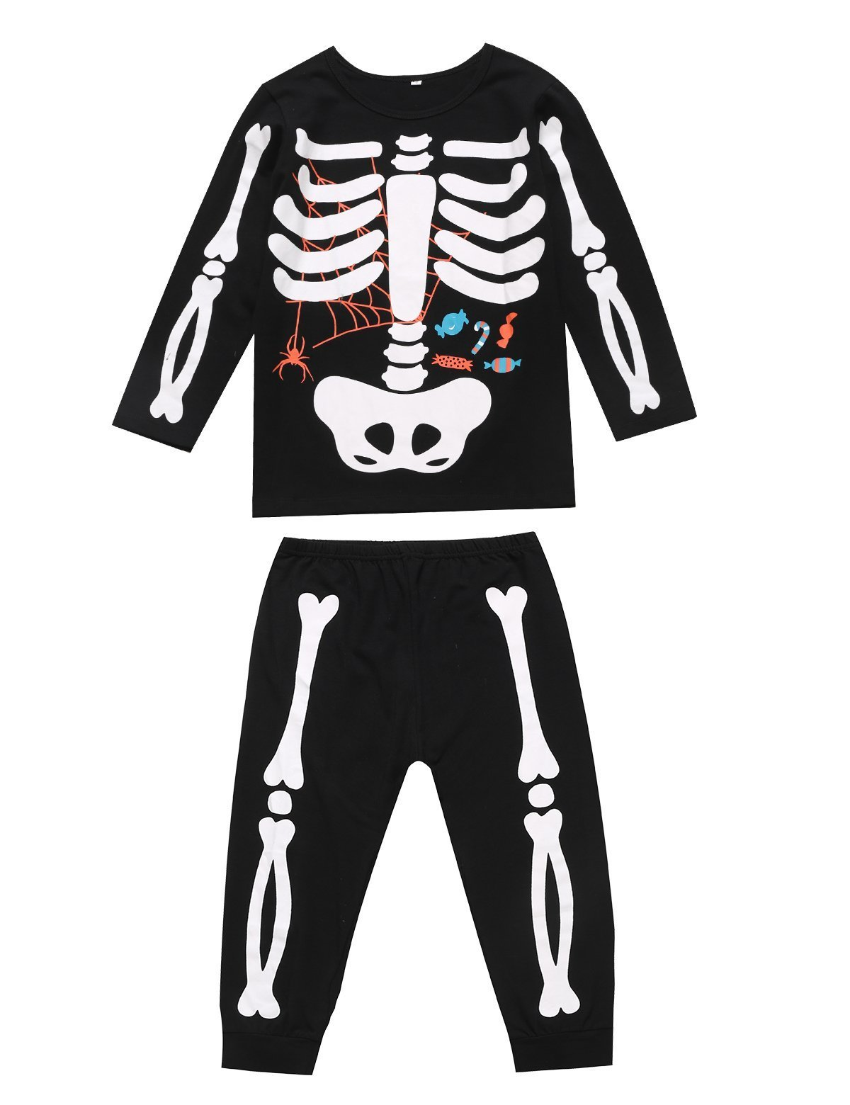 Unisex Boys Girls Kids Halloween Pajama Skeleton Costume Outfit Pants Set (5, Black)