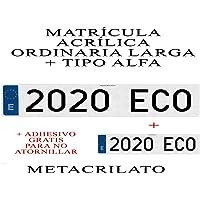 2 MATRICULAS ACRILICAS METACRILATO Larga + Tipo Alfa