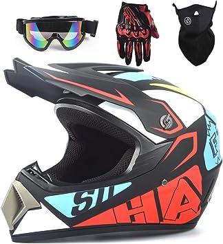 Motocross Helm Kinder Integralhelm Mtb Bmx Atv Helm Motorradhelm Mit Schutzbrille Handschuhe Maske Brille Sport Freizeit