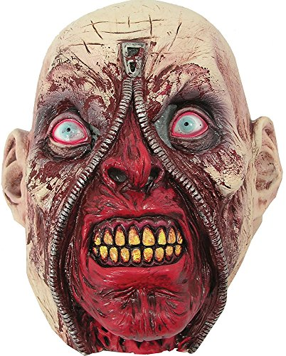[Adult Gore Flesh Bloody Face Horror Halloween Skinned Scary Zipper Head Mask] (Zipper Costume Face)