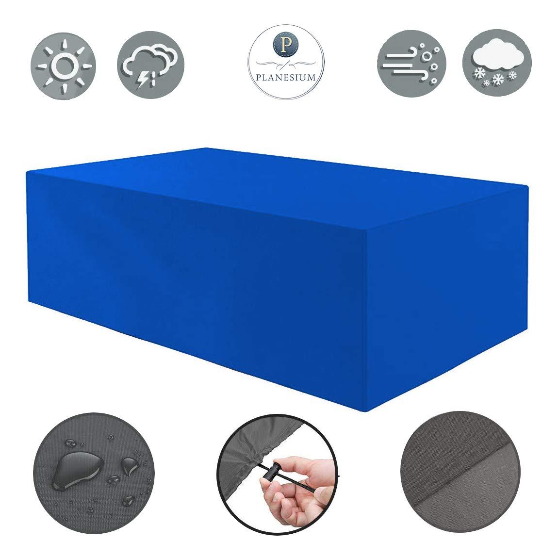 Planesium Premium Schutzhülle Gartenmöbel Abdeckung/Gartentisch Hülle Haube Abdeckplane wasserdicht atmungsaktiv reißfest Garnitur Lounge 575g/lfm B 155cm x T 95cm x H 71cm Blau