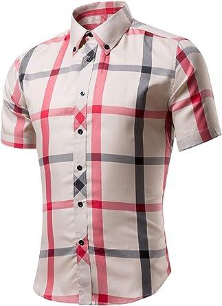 Camisetas Informales De Verano De Manga Corta Botón Arriba Camisa Cuadros para Hombre: Amazon.es: Ropa y accesorios