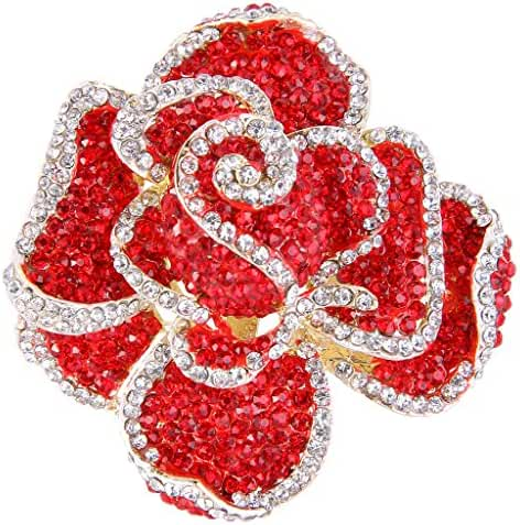 EVER FAITH Austrian Crystal Blooming Rose Flower Adjustable Statement Ring