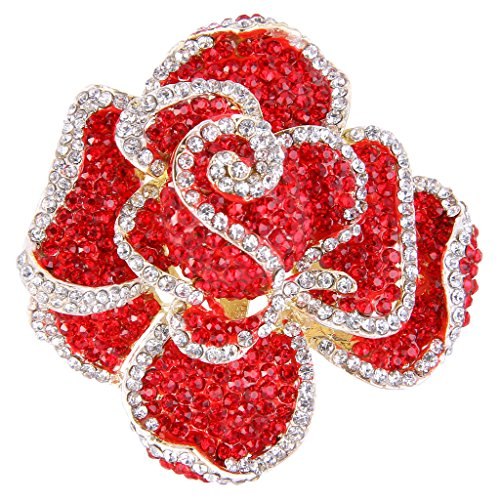 EVER FAITH Austrian Crystal Blooming Rose Flower Adjustable Statement Ring Red Gold-Tone Flower Cocktail Adjustable Ring