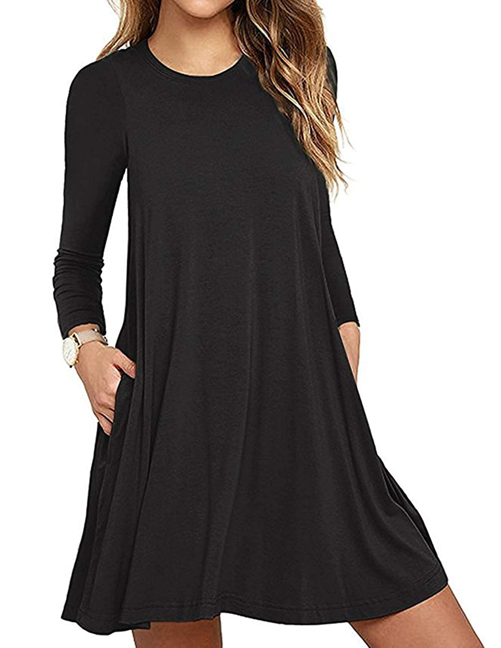 Black ZENUTA Womens Long Sleeve TShirt Dresses Casual Pockets Loose Swing Tunic Dress