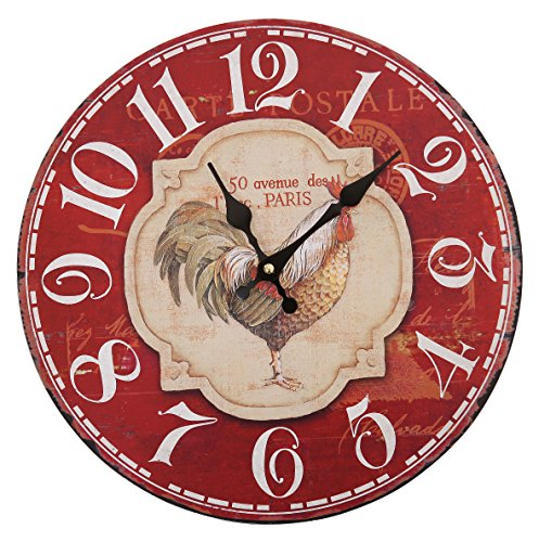 Vintage French Paris Rooster Chicken Designed Wall Clocks Decor Interior Home Cafe Kitchen