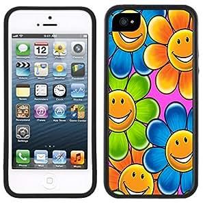 LJF phone case Smiley Face Flowers Handmade iphone 5/5s Black Case
