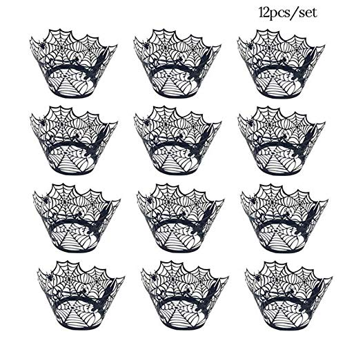 KathShop 12Pcs Happy Halloween Decoration Cupcake Wrapper Paper