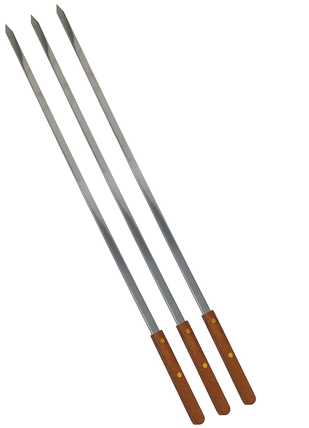 Unique Imports #1 Stainless Steel Wooden Handle BBQ Skewers for Shish Kebab Turkish Grills & Koubideh Brazilian-style BBQ - 25 Inch Long 1/2 Inch Wide (12)