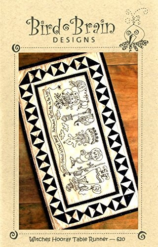 Witches Hooray Halloween Table Runner Embroidery Pattern by Robin Kingsley from Bird Brain Designs 620 16