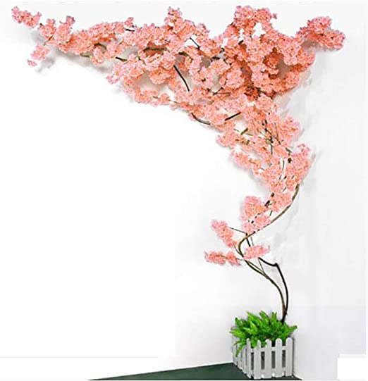 Simulation Hanging Wall Artificial Cherry Blossoms Fake Flower Rattan Decor D
