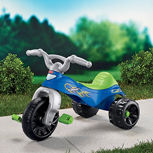 619Dv8D3DQL - Fisher-Price Kawasaki Tough Trike, Blue/Green