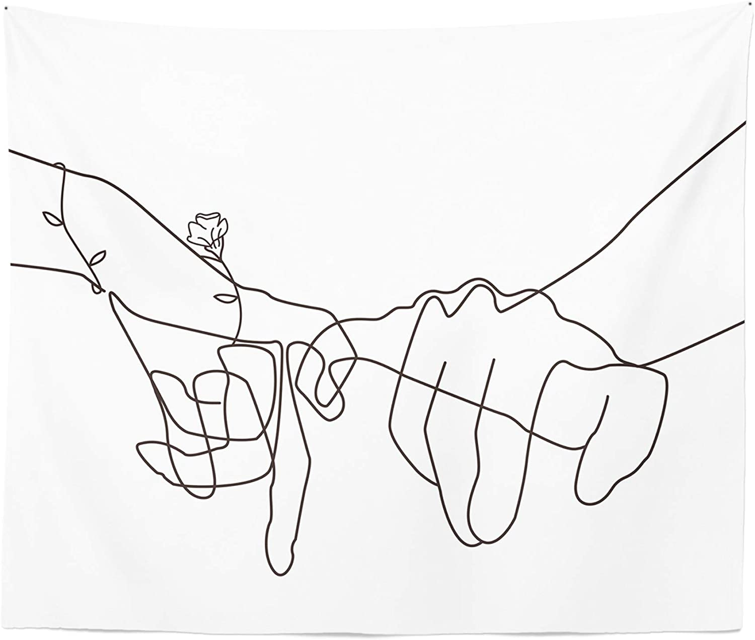 """Manicer Black and White Pinky Promise Tapestry, Swear Love Wall Art, Holding Hands Art Line Minimalist Abstract Wall Décor for Dorm Bedroom Office – 59.1"""" x 80"""" - White"""