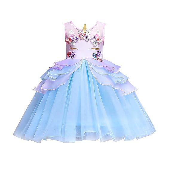 fc41b38eb4d87 IEFIEL Tutu Licorne Enfant Fille Robe De Princesse Anniversaire Costume  sans Manches Perle Fleur Robe Soirée