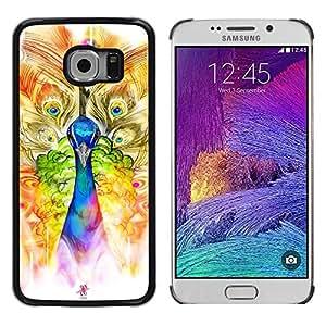 FECELL CITY // Duro Aluminio Pegatina PC Caso decorativo Funda Carcasa de Protección para Samsung Galaxy S6 EDGE SM-G925 // Peacock Art Watercolor Painting Drawing