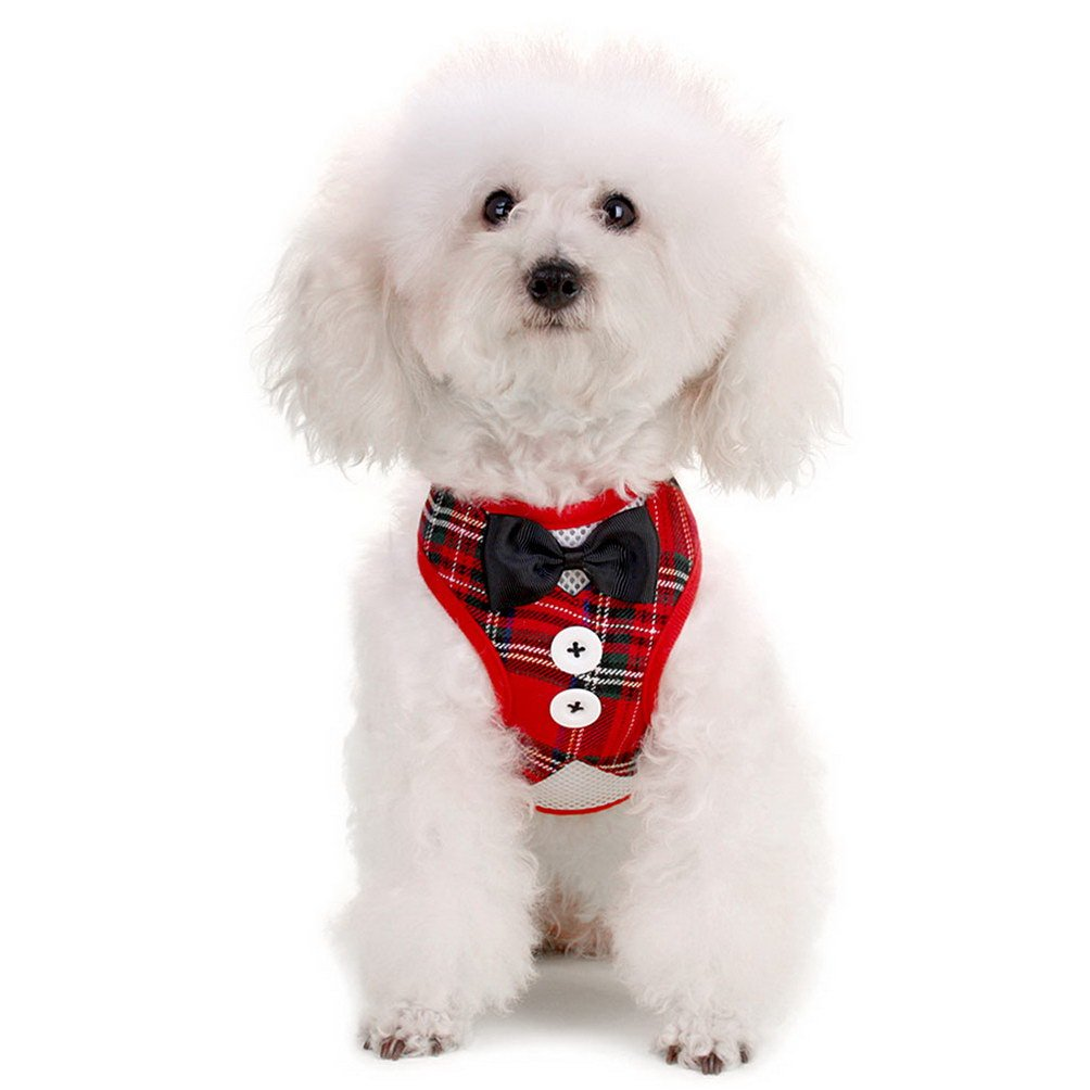 SELMAI Stylish Red Plaid Suits Mesh Dog Tuxedo Harness Vest Leash Set for Small Toy Dog Cat Puppy Adjsutable No Pull S