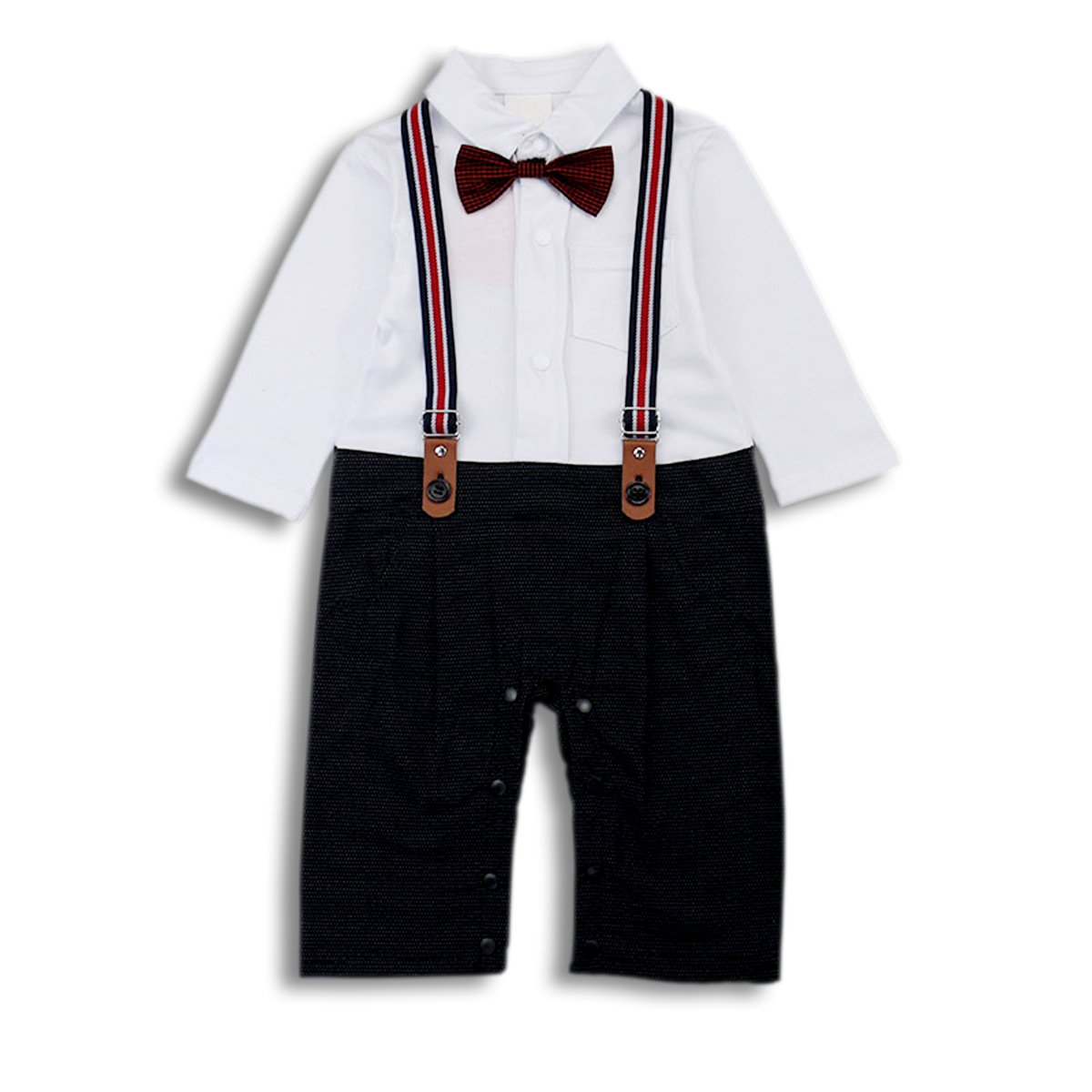 Baby Boy Romper Jumpsuit Toddler Outfits Suit Set with Bowtie & Straps BC-BDA-01