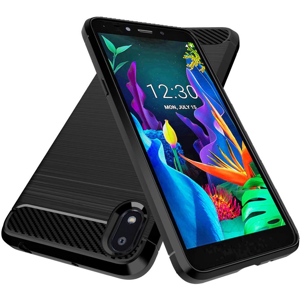 LG K20 2019 Case, Dahkoiz Shock Absorption LG K20 2019 Phone Case Slim Thin TPU Bumper Cover Flexible Brushed Skin Lightweight Carbon Fiber Protective Case for LG K20 2019, Black