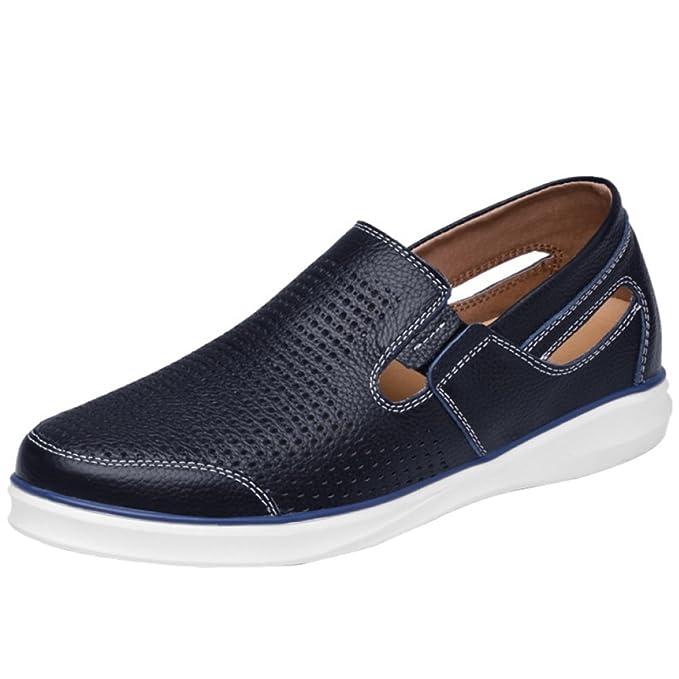RSHENG Zapatos Casuales De Los Hombres Mocasines Zapatos De Barco Cuero De La Manera Cómodo Respirable: Amazon.es: Ropa y accesorios
