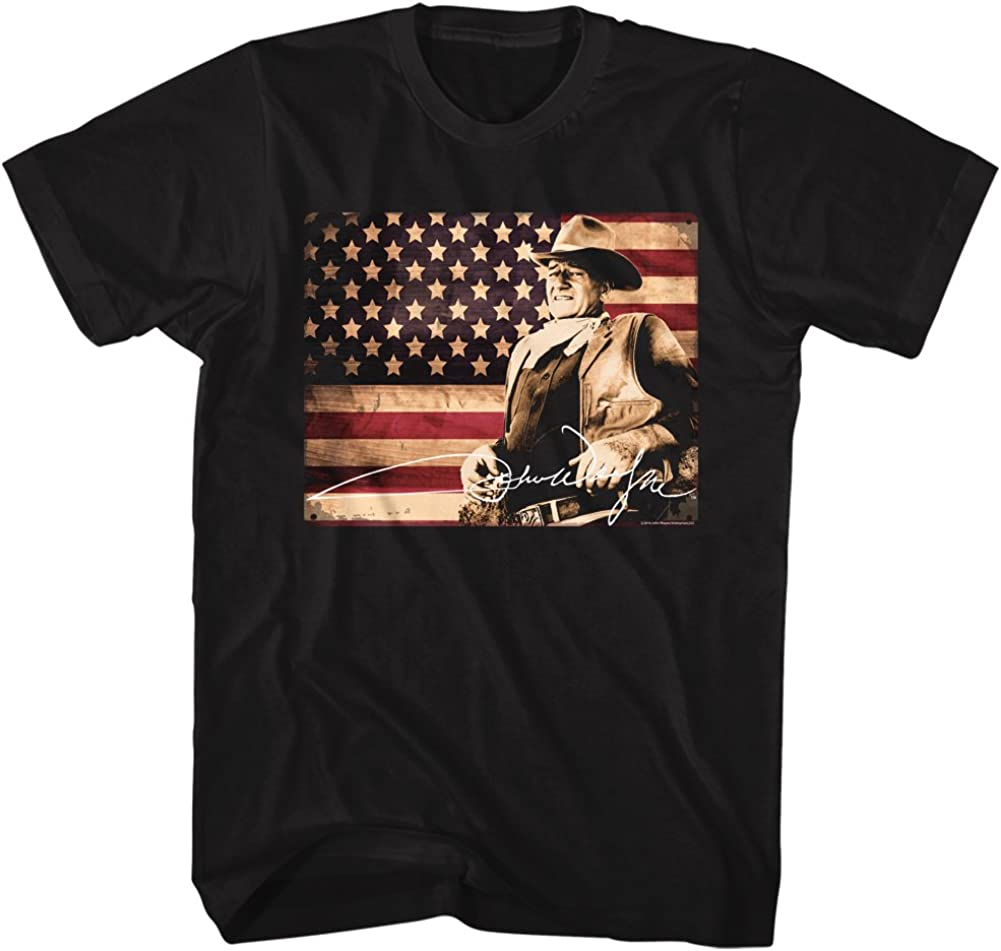 John Wayne Hollywood Icon Actor American Legend Flag In Color Adult T-Shirt Tee 619DwI71WAL