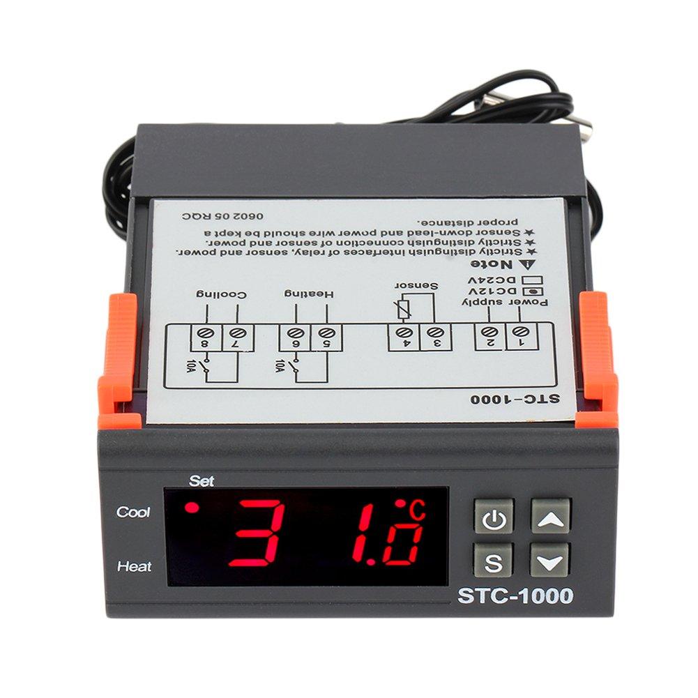 NAttnJf Contrôleur de température à Relais de Sortie numérique à CA 12V / 24V Two Digital avec capteur