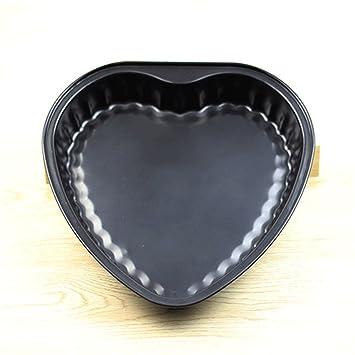 Moldes de repostería con forma de corazón, redondos, antideslizantes, de acero al carbono