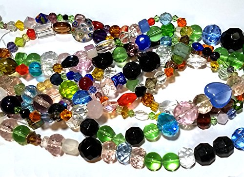 Glass Beads in Bulk 1500+ Mix On 25 Strands Lampwork Millefiori Faceted Cats Eye ()