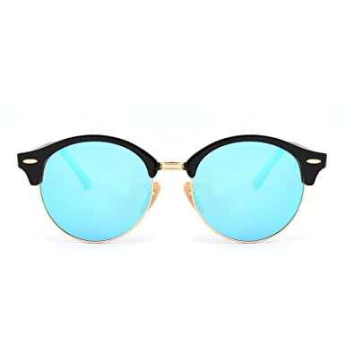 164630bb12c JIM HALO Retro Round Polarized Sunglasses Semi Rimless Browline Eyeglasses  for Women Men (Shiny Black