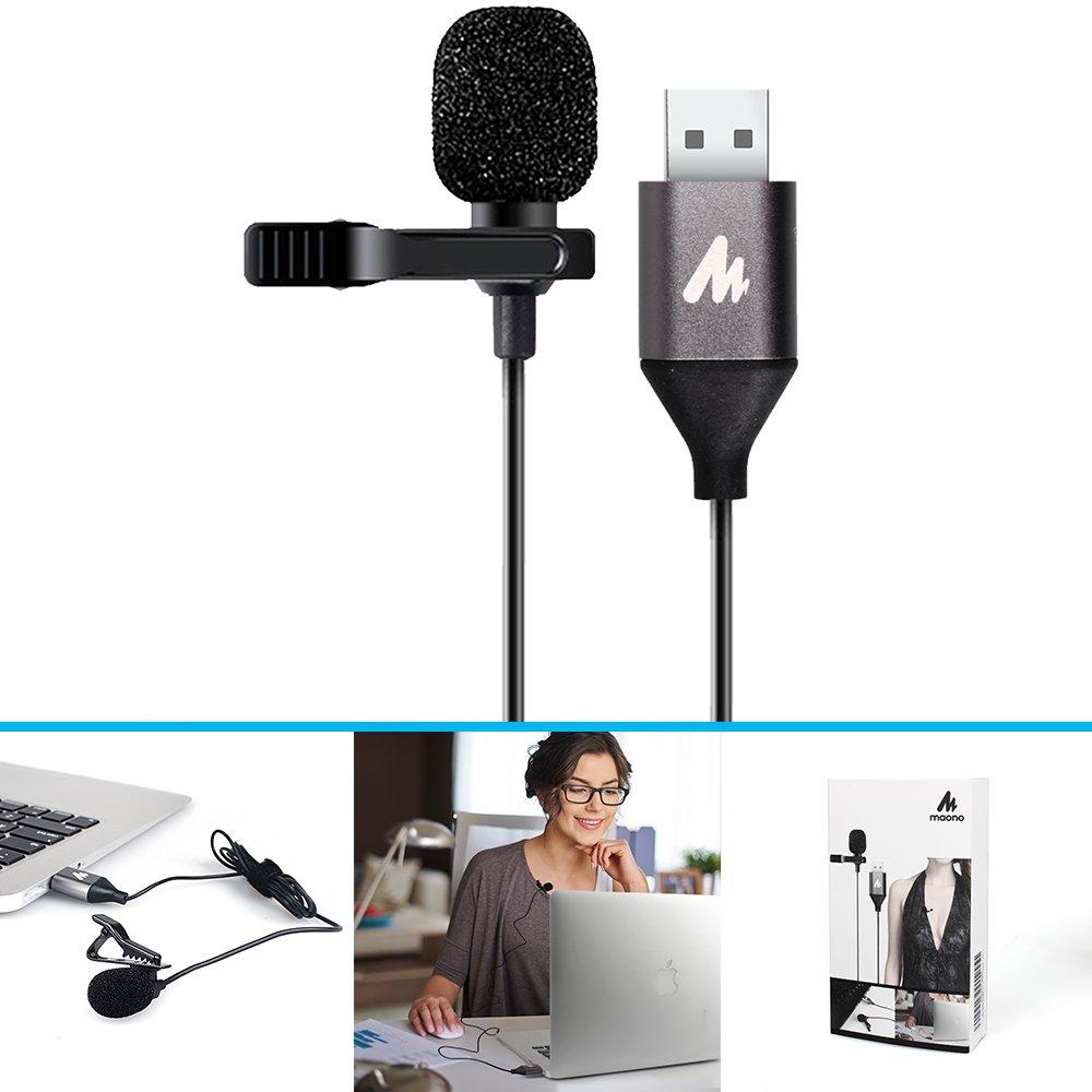 USB Lavalier microphone-maono au-410Lapel mic mani libere camicia colletto a clip microfono per PC computer, laptop, Youtube, Skype recording, Live Broadcasting MNMNB1053100001NO