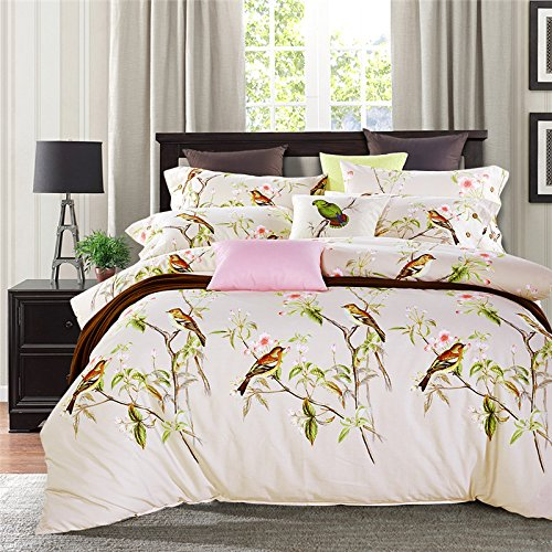 TheFit Paisley Bedding for Adult T169 Elegant Birds Duvet Cover Set 100% Cotton, Queen King Set, 4 Pieces (Queen)