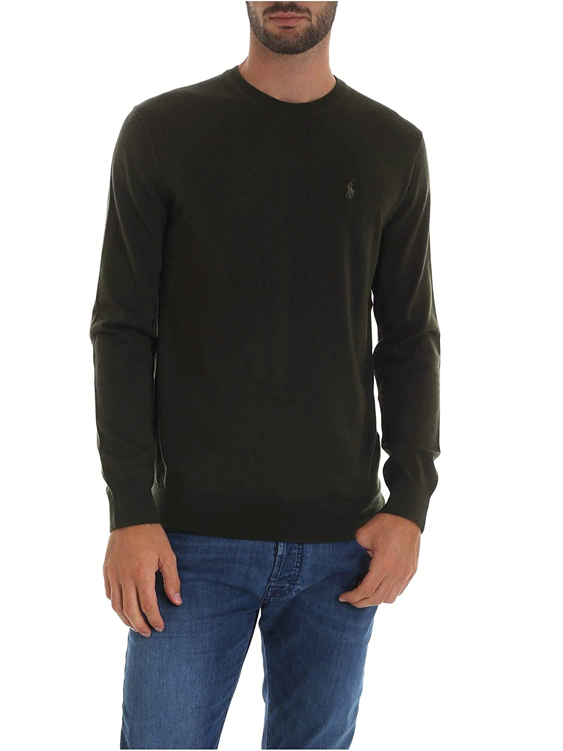 Polo Ralph Lauren Merino Wool-LS SF cn PP Verde Uomo: Amazon.es ...