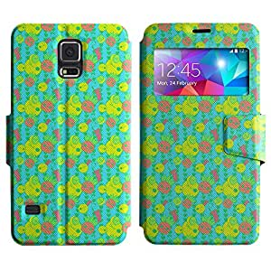 AADes Scratchproof PU Leather Flip Stand Case Samsung Galaxy S5 V SM-G900 ( Weird Character )