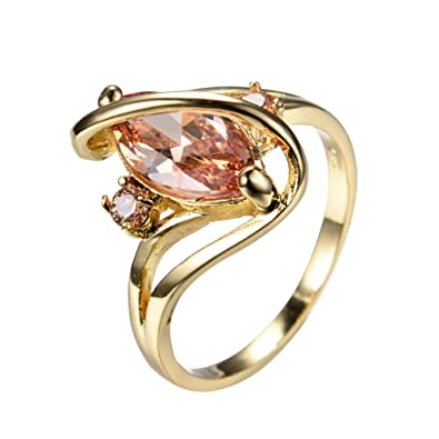 Amazon Bamos Jewelry Gold Plated S Style Ring Big Champagne