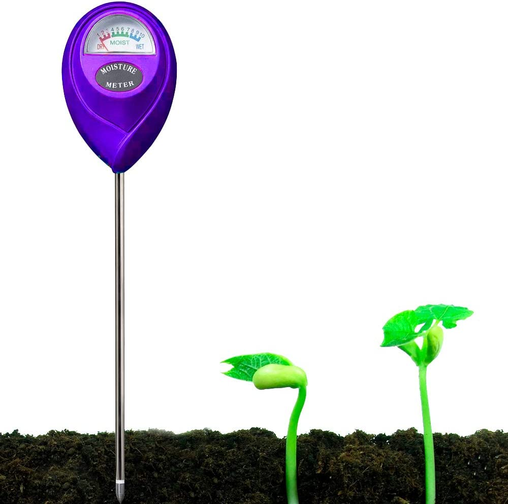 YUIDDA Soil Moisture Meter, Plant Water Meter Soil Thermometer Soil Tester Kit for Plant Gardening Farming No Battery Needed(Purple, 1 Pcs)