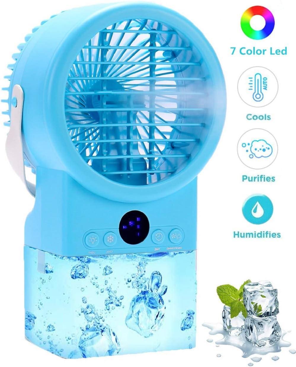 Temporizador Silencioso,3 Velocidades,7 Colores Luz Ajustable Mini Enfriador de Aire Humidificador con Mango Trabajo y Hogar Aire Acondicionado Port/átil