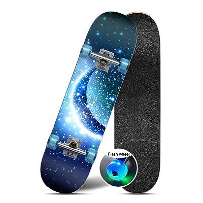 "OFFA Skateboards 31"" X 8"" Complete Skateboard Kids 6-12 Skateboard, Maple Wood Double Kick Tricks Skate Board Concave Design Skateboards for Beginners,Kids Boys Teens Girls (Color : E): Home & Kitchen"