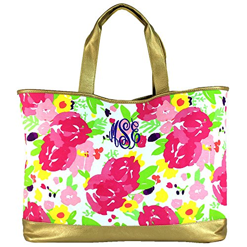 Personalized Womens Floral Cabana Large Tote with Gold Colored Accents (Floral Personalized)