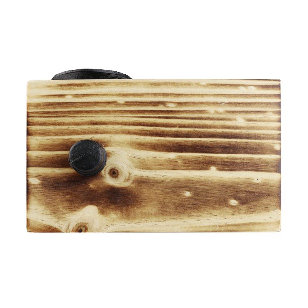 Portarrollos de papel higi/énico de papel higi/énico de estilo r/ústico montado en la pared con Industrial tubo de hierro y madera estante