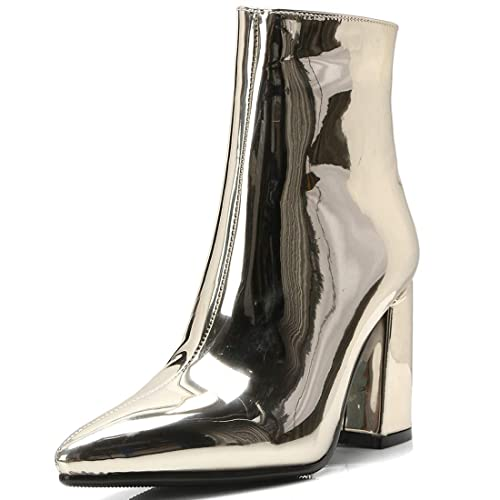 ff20d4520b45 Vitalo Womens Chunky High Heel Pointed Toe Ankle Boots Zip Up Patent Leather  Booties  Amazon.ca  Shoes   Handbags