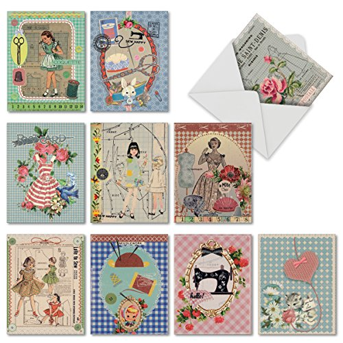 - 10 'Tailor Fit' Note Cards with Envelopes (4 x 5.12 Inch), Stationery Set, Assorted Blank Greeting Cards Featuring Sewing Supplies for Weddings, Birthdays, Baby Showers, Thank Yous M6636OCB