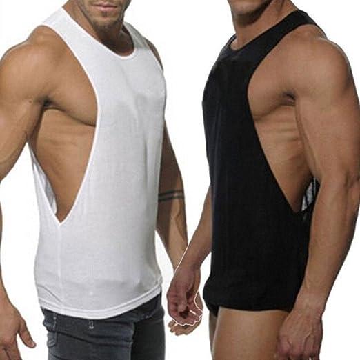 1255984b5443ab KIKOY Fashion Mens Sleeveless Sport Vest Casual Loose Solid Tank Tops Black